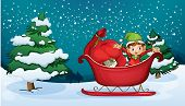 picture of sleigh ride  - Illustration of an elf riding on a sleigh with a sack of gifts - JPG