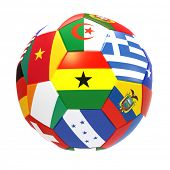 Ghana - 3D render of soccer football with flags on white background