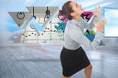 Furious businesswoman gesturing against room with holographic cloud