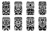 stock photo of african mask  - easy to edit vector illustration of tiki mask - JPG