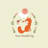 Cute fox and a bird, vector illustration