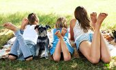 stock photo of schnauzer  - happy children lying on green grass outdoors in the grass with dog - JPG