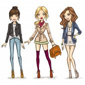 stock photo of trench coat  - Fashion girls - JPG