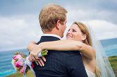 Wedding Couple, Happy romantic bride and groom, shallow depth of field, focus on bride