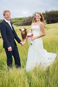 Country Wedding, Happy Bride and Groom with Cow