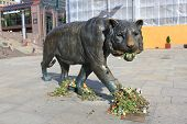 Sculpture of Walking Tiger In The Oslo Central Station Square, Norway