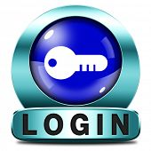 login blue key icon or user or member log in button website banner