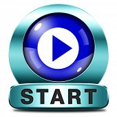 start now or begin the game movie or video new beginning icon or button