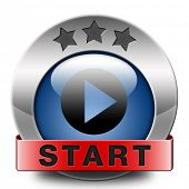 start or begin the game movie or video new beginning icon or button
