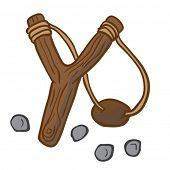picture of projectile  - cartoon illustration of slingshot with some pebbles - JPG