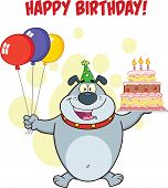 picture of ear candle  - Happy Birthday Greeting With Gray Bulldog Holding Up A Birthday Cake With Candles Cartoon Character - JPG
