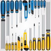 Vector Hand Tools Screwdrivers, Cutters, Files etc