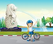 Illustration of a young biker near the statue of Merlion