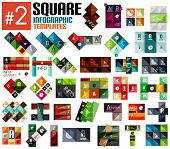 Huge set of square infographic templates #2 for business background | numbered banners | business lines | graphic website