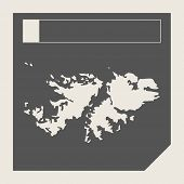 Falkland Islands map button in responsive flat web design map button isolated with clipping path.