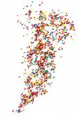 Colorful cake sprinkles scattered over white background.  Hundreds and Thousands.
