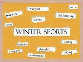 Winter Sports Corkboard Word Concept