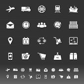 Logistic Icons On Gray Background