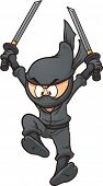 stock photo of ninja  - Cartoon ninja jumping - JPG