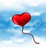 Balloon In The Shape Of Heart In Blue Sky