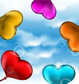Collection Glossy Hearts Balloons For Valentine Day In The Blue Sky
