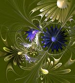 Beautiful Fractal Flower In Green And Blue. Computer Generated Graphics.