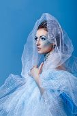 foto of snow queen  - Attractive young girl with a theatrical makeup on the face in the image fabulous snow queen - JPG