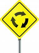 Traffic circle vector road sign