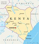 foto of rudolf  - Political map of Kenya with capital Nairobi - JPG
