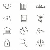 stock photo of justice law  - Modern Line Law Legal Justice icons and Symbols Set for Mobile Interface Isolated Vector Illustration - JPG