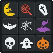 Set Of 9 Halloween Web And Mobile Icons. Vector.