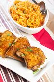 foto of crispy rice  - hearty meal crispy herbed chicken with java rice - JPG