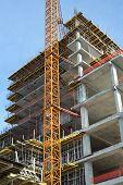 High-rise Building under construction. Construction site.