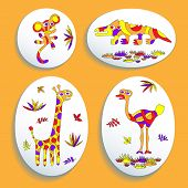 Set Of Buttons With Psychedelic Animals Of Africa 2
