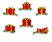 Collection of 3d christmas gift red boxes with satin golden bows. Realistic vector illustration.