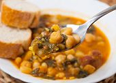 Potaje De Garbanzos Y Espinacas. Spanish Cuisine.