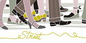 stock photo of flat-foot  - Street scene with walking people in rush hour - JPG