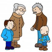 cartoon illustration of grandparents with two grandsons