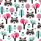 Seamless raccoon skunk woodland animal kids background vector pattern illustration in pastel