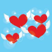 image of blue angels  - red heart with white angel wing on a blue background - JPG