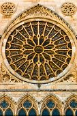 Full View Of Main Rose Window And Lancet Arch Shapes In The Gothic Cathedral Of Leon