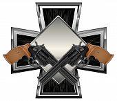 Guns on cross
