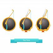 stock photo of fletching  - icons fantasy bow on white background with three shades of improvement - JPG