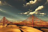 Golden Gate Bridge in desolate future
