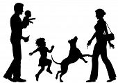 Illustrated silhouettes of a woman welcomed home by husband, children and dog
