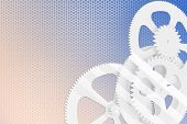 Abstract cogs - gears on honeycomb background