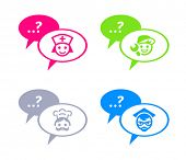 Icons for online chat with doctor, service man, chef and teacher