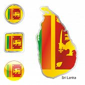 flag of Sri Lanka in map and internet buttons shape
