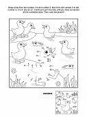 Dot-to-dot and coloring page - ducklings at the pond
