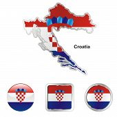 flag of Croatia in map and web buttons shapes